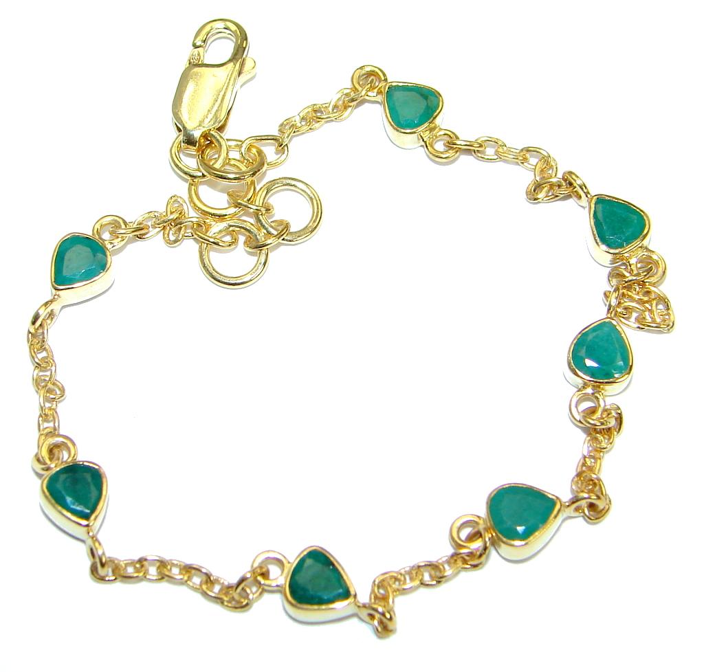 Special Design Natural Emerald Gold over .925 Sterling Silver handmade Bracelet