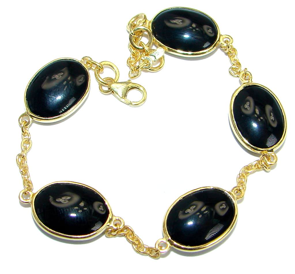 Flawless natural   Onyx Gold over  .925  Sterling Silver Bracelet