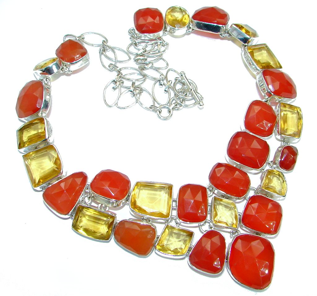 Jumbo Bold Carnelian lab. Golden Topaz .925 Sterling Silver handmade Necklace