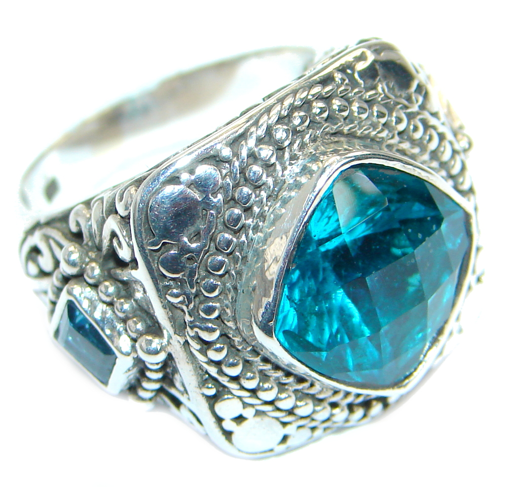 Solid  Aqua Topaz  .925 Sterling Silver Ring s. 5 3/4