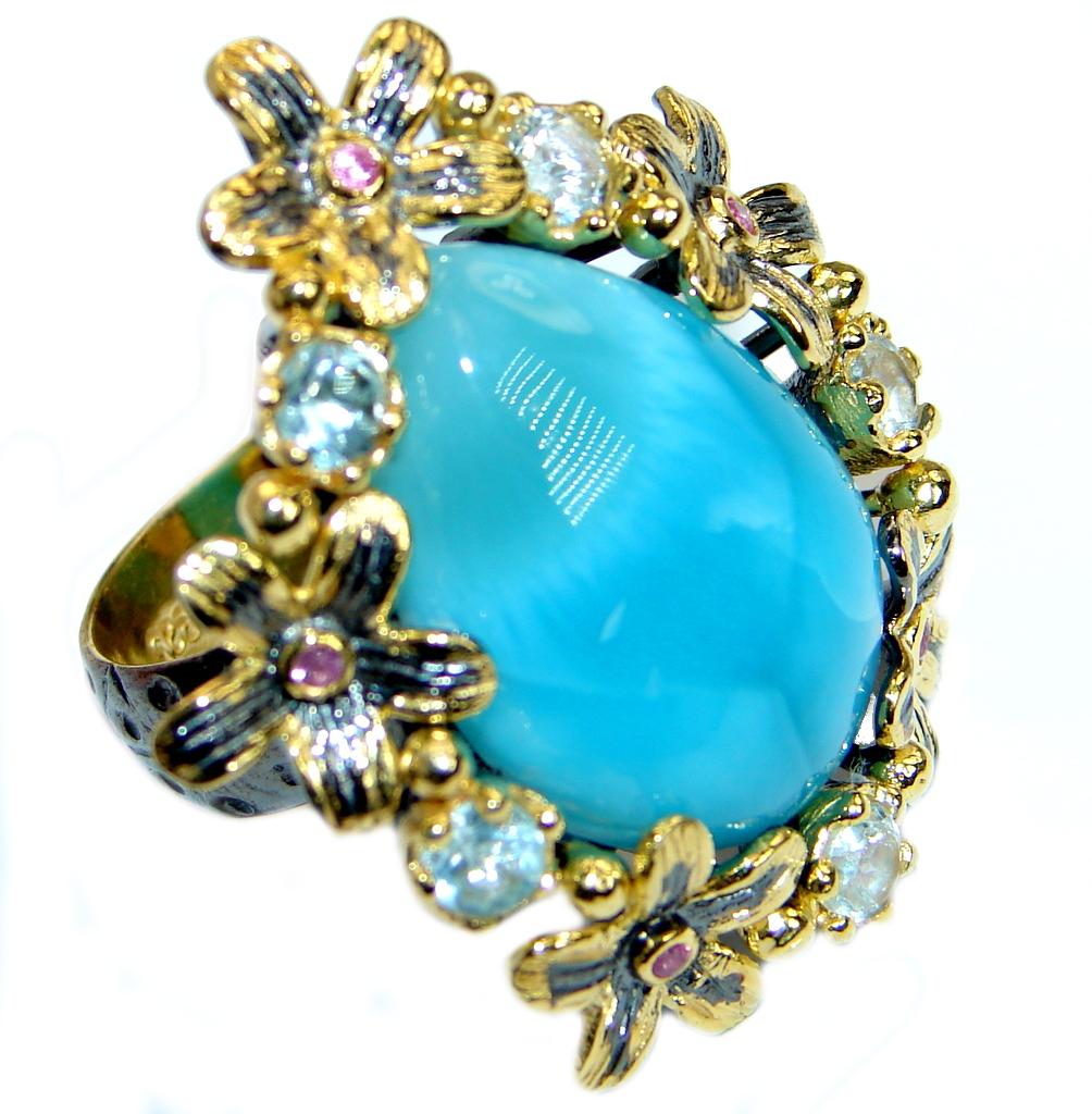 Large Floral Design  genuine   Larimar  Gold plated over .925 Sterling Silve..