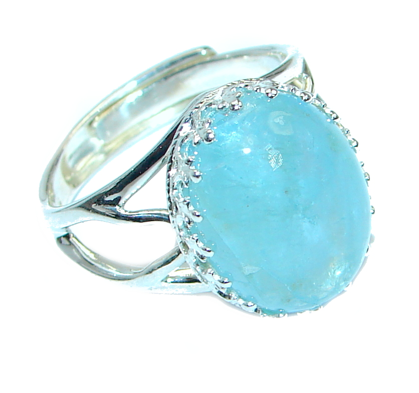 Passiom Fruit Natural Aquamarine 10 ct. Sterling Silver Ring s. 7 adjustable