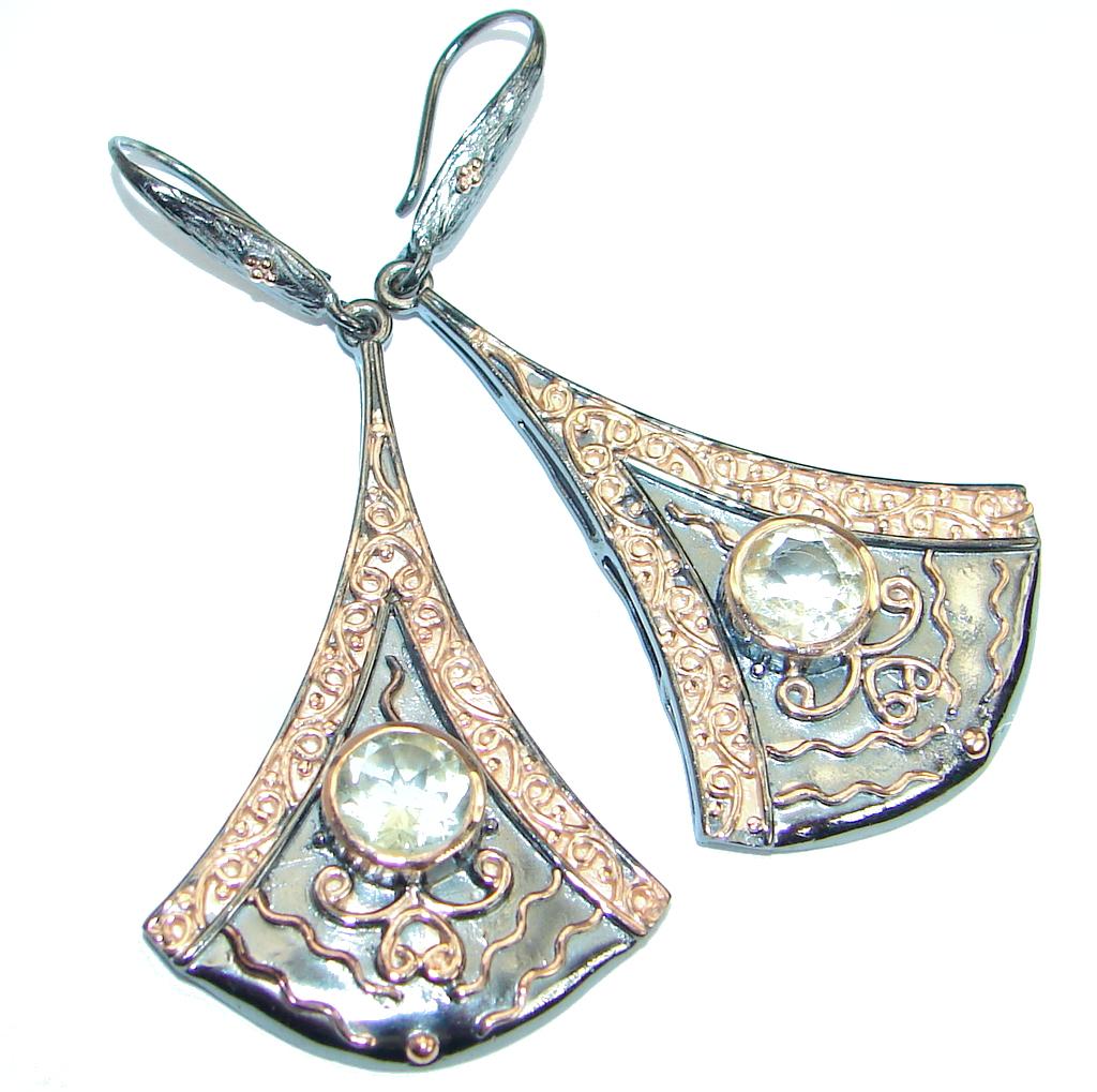 Stylish genuine  Citrine Rose Gold over .925 Sterling Silver handmade  earri..