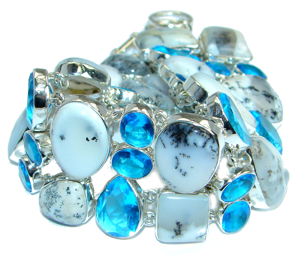 Jumbo Solid Genuine Dendritic Agate and Quartz .925 Sterling Silver handmade Bracelet