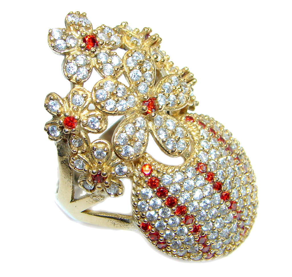 Large Victorian Style created Ruby & White Topaz Sterling Silver ring; s 10