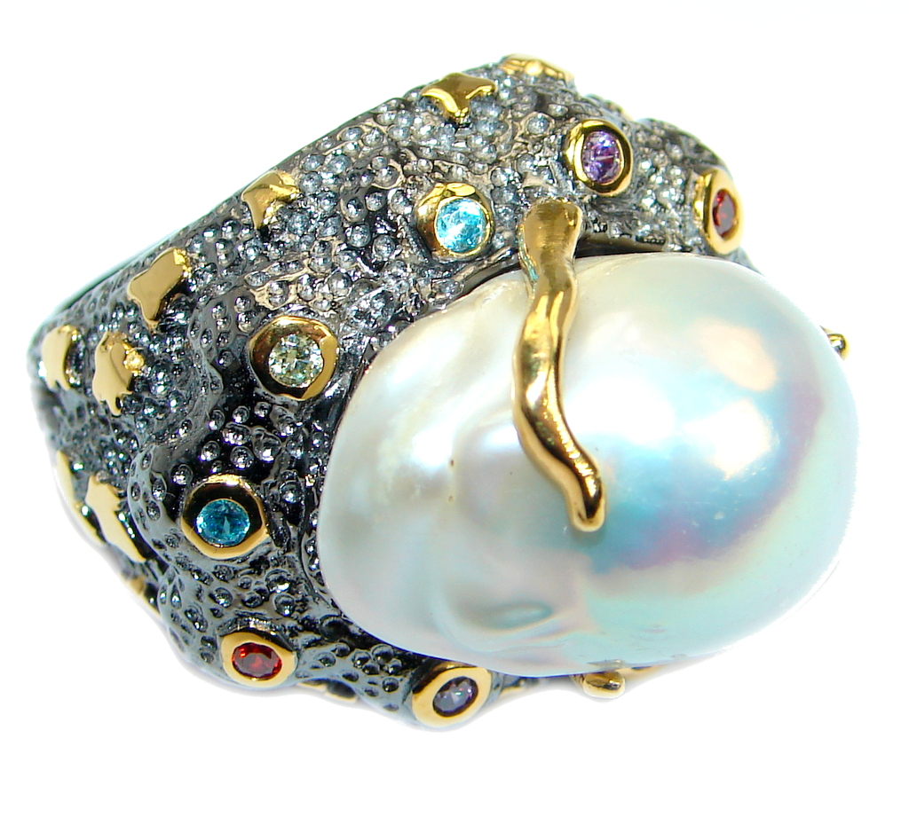 Jumbo Baroque  Design  Mother Of Pearl Gold plated over .925 Sterling Silver..