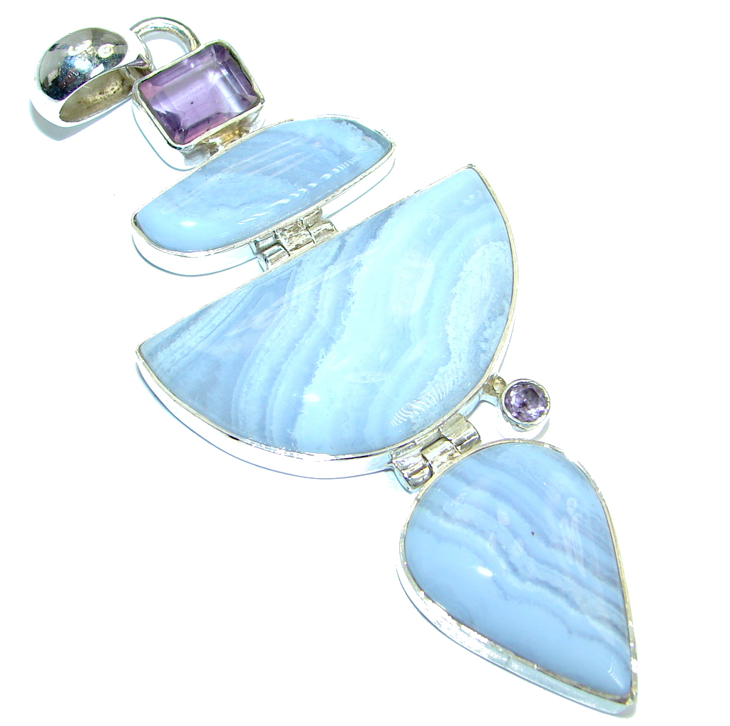 Huge Fine Art Natural Chalcedony Lace Agate  .925 Sterling Silver handmade P..