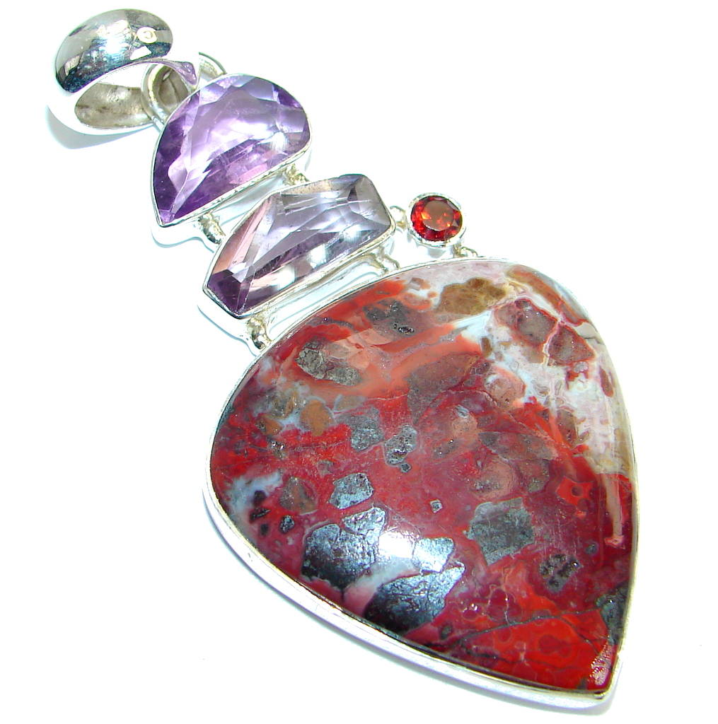 Amazing genuine Crazy Lace Agate  Garnet .925  Sterling Silver handmade Pend..