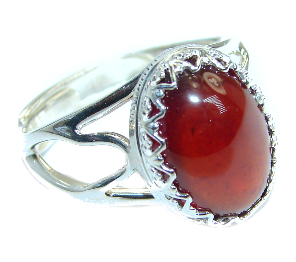 Genuine  Hessonite Garnet Sterling Silver handmade Ring