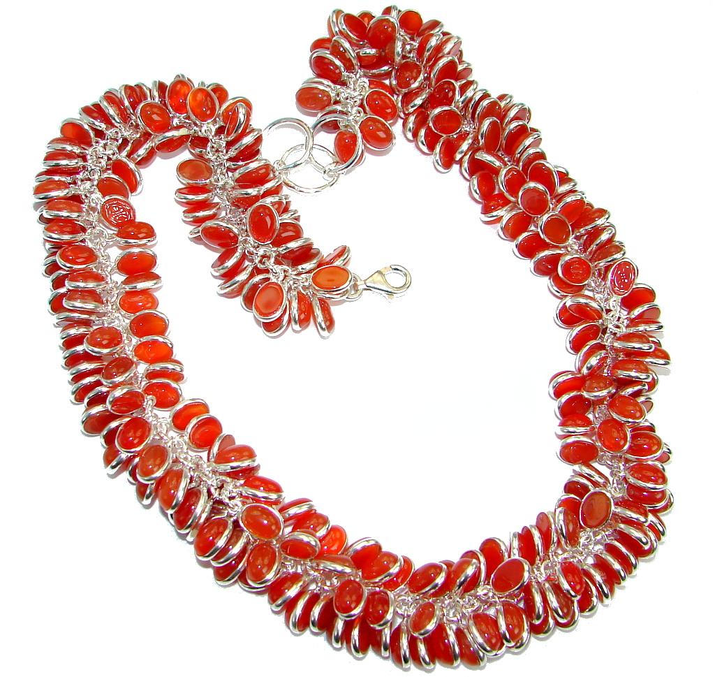 Orange Fall Beauty Genuine Carnelian Agate .925 Sterling Silver handmade necklace