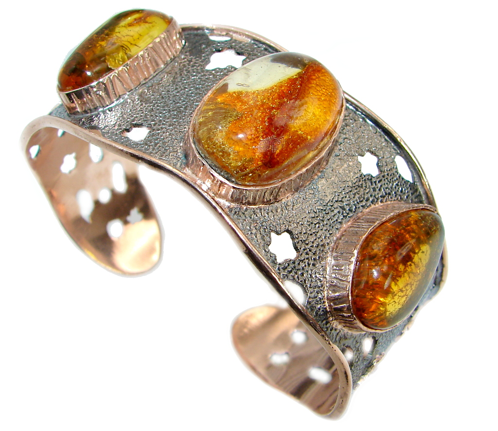 Beautiful Genuine Handcrafted Polish Amber Two Tones .925 Sterling Silver Br..