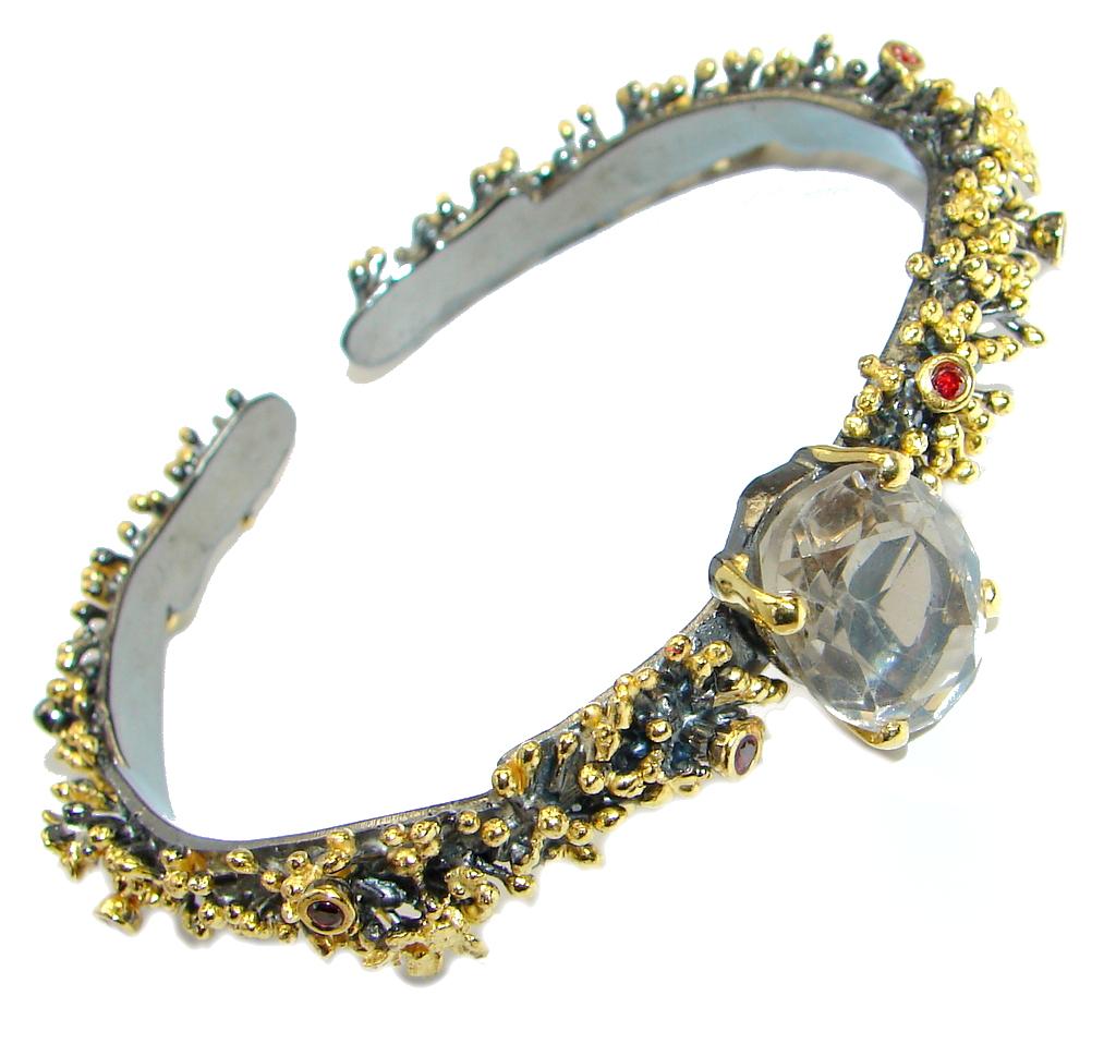 Stunning Smoky Topaz Gold Rhodium over .925 Sterling Silver Bracelet / Cuff