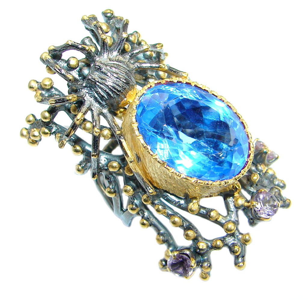Black Widow Blue Topaz  Gold Rhodium over .925  Sterling Silver Cocktail Rin..