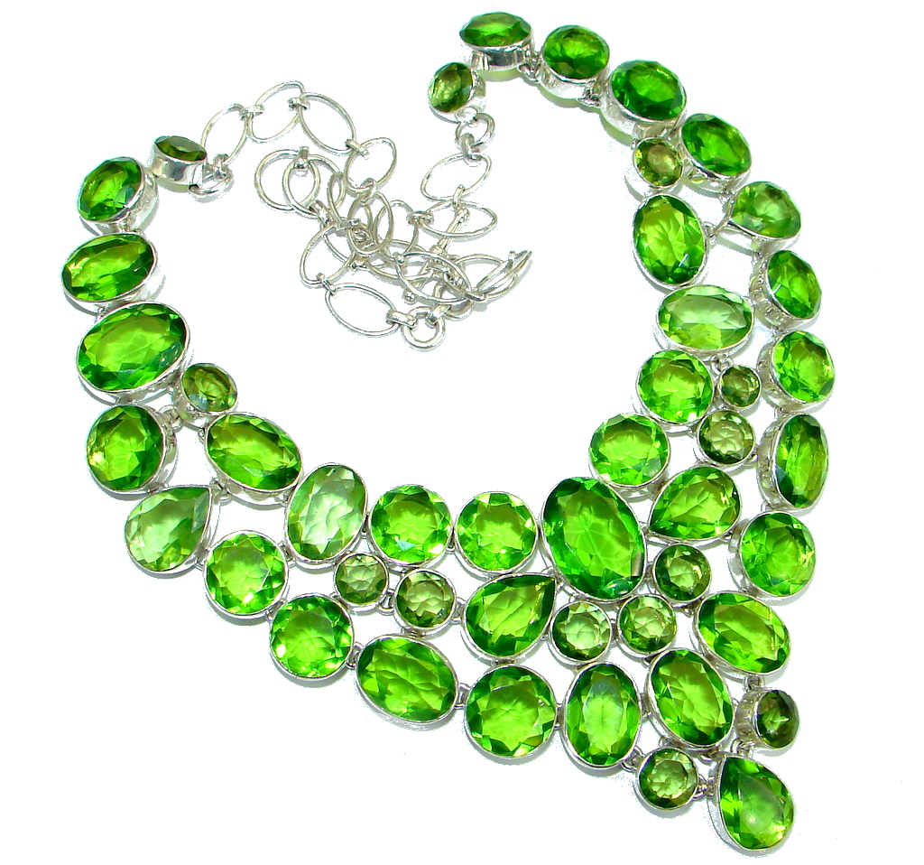 One of the kind Nature inspired simulated Peridot .925 Sterling Silver handmade necklace