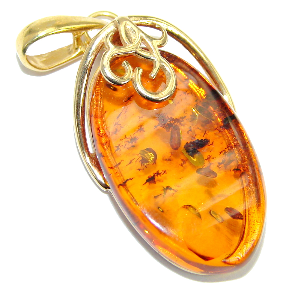 Incredible natural Baltic Amber Gold   over .925 Sterling Silver handmade Pe..