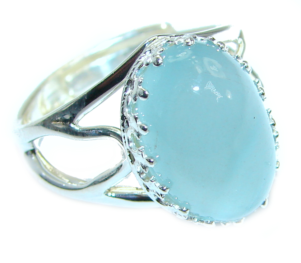 Passiom Fruit Natural Aquamarine 9 ct. Sterling Silver Ring s. 7 adjustable 123801