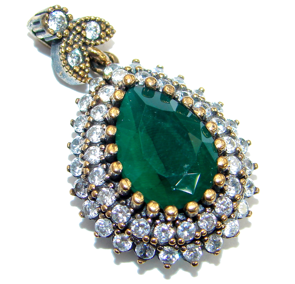 Vintage Style  created Emerald  .925 Sterling Silver handmade Pendant