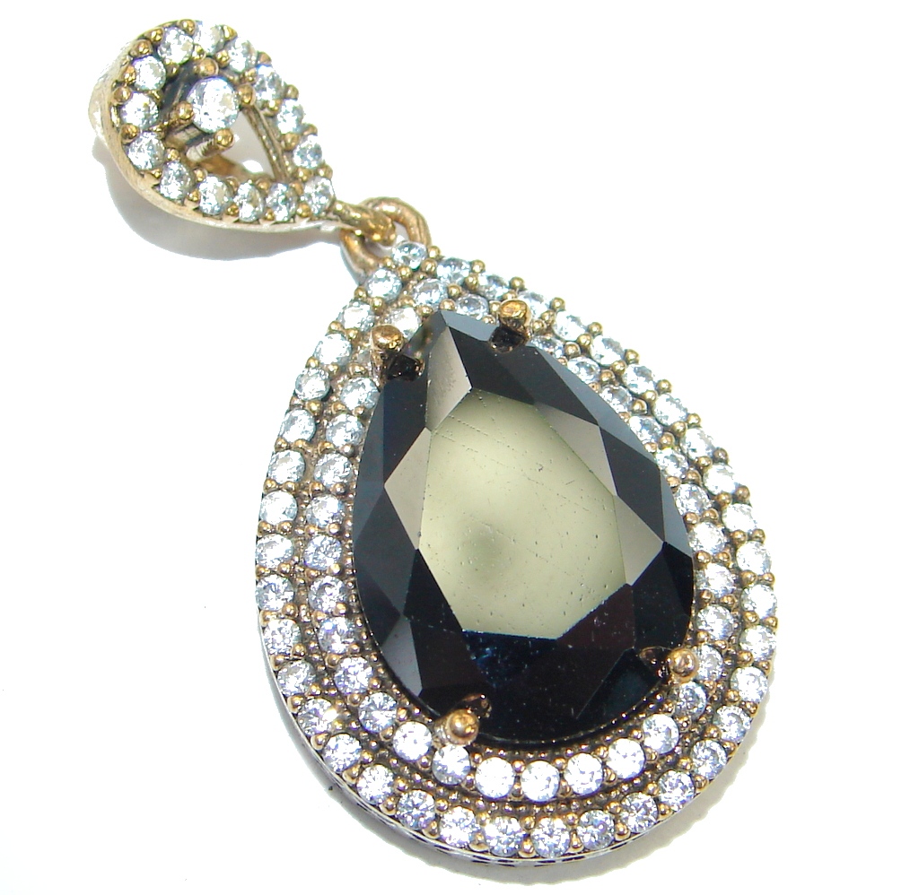 Victorian Vintage Style Onyx Two tones  .925  Sterling Silver Pendant