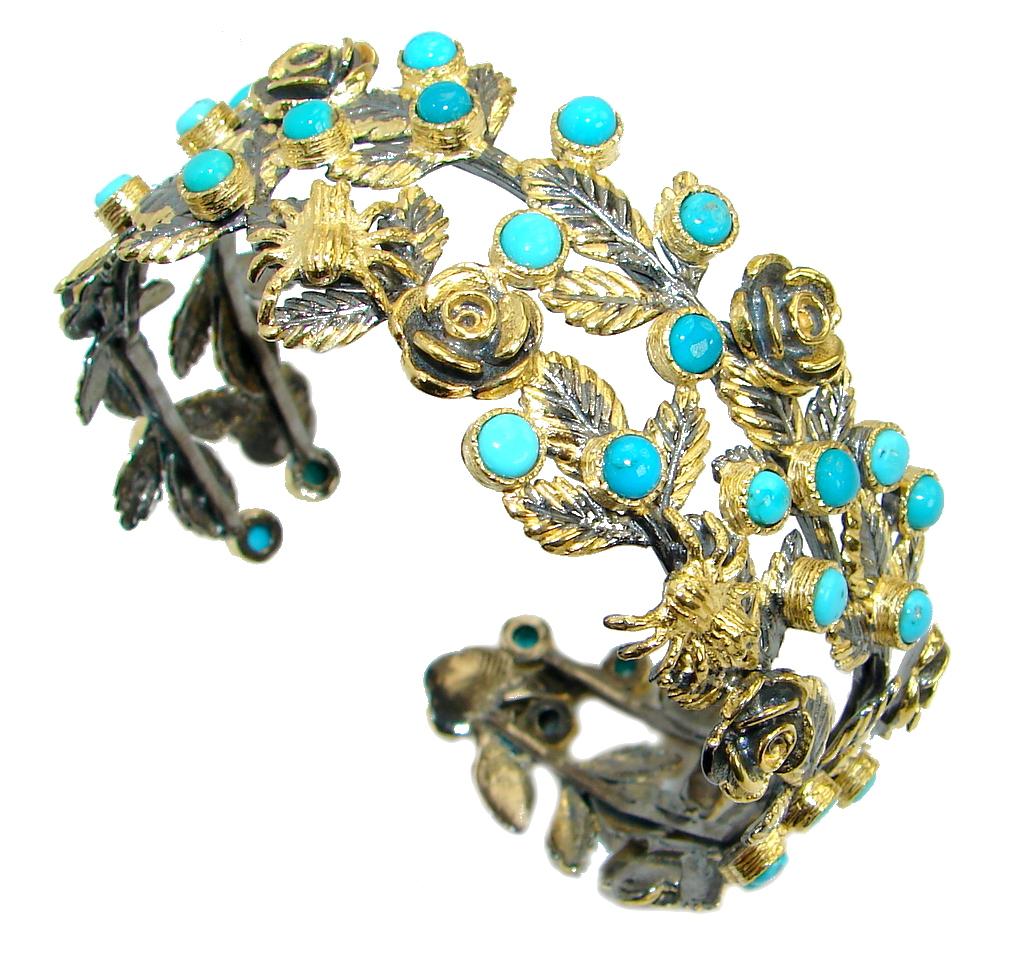 Free Spirit Genuine Sleeping Beauty Turquoise .925 Sterling Silver handmade Bracelet