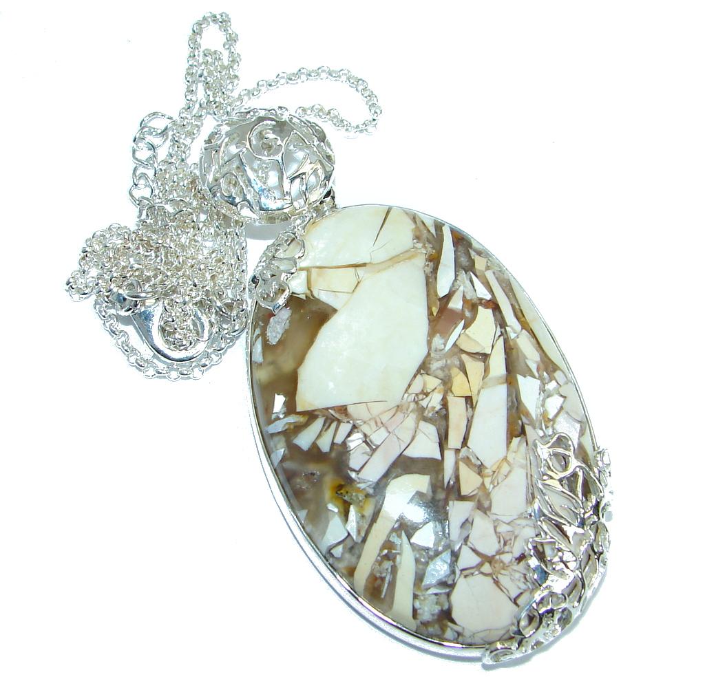 Aura Of Beauty Australian Bracciated Mookaite Jasper .925 Sterling Silver necklace