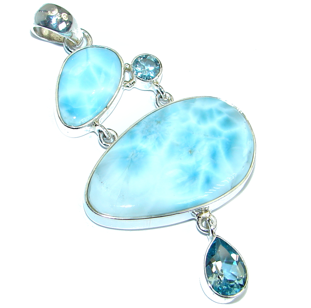 Huge Great quality Beautiful genuine Larimar  .925 Sterling Silver handmade ..