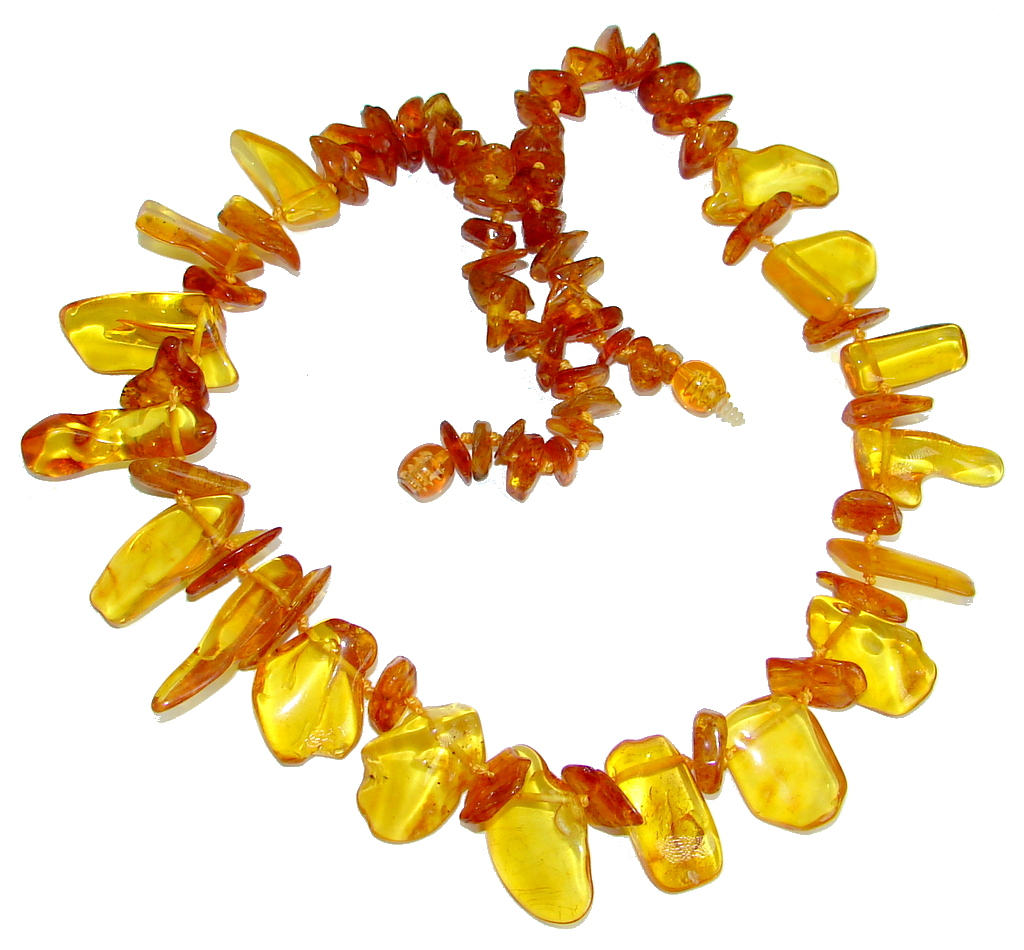 Natural Beauty Brown Polish Amber handmade 18 inches necklace