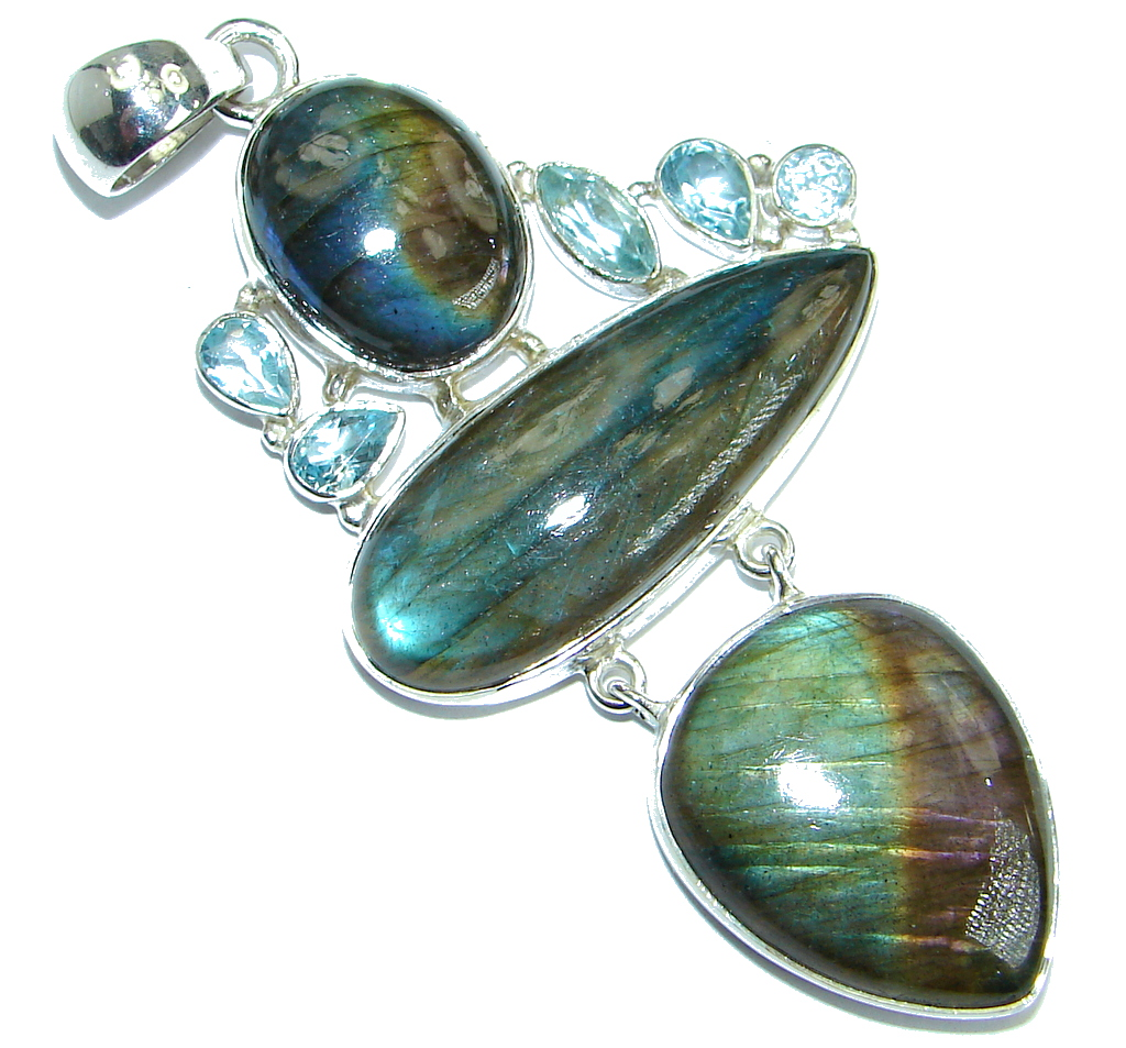 Bold Highest quality genuine Fire Labradorite  .925 Sterling Silver handmade..