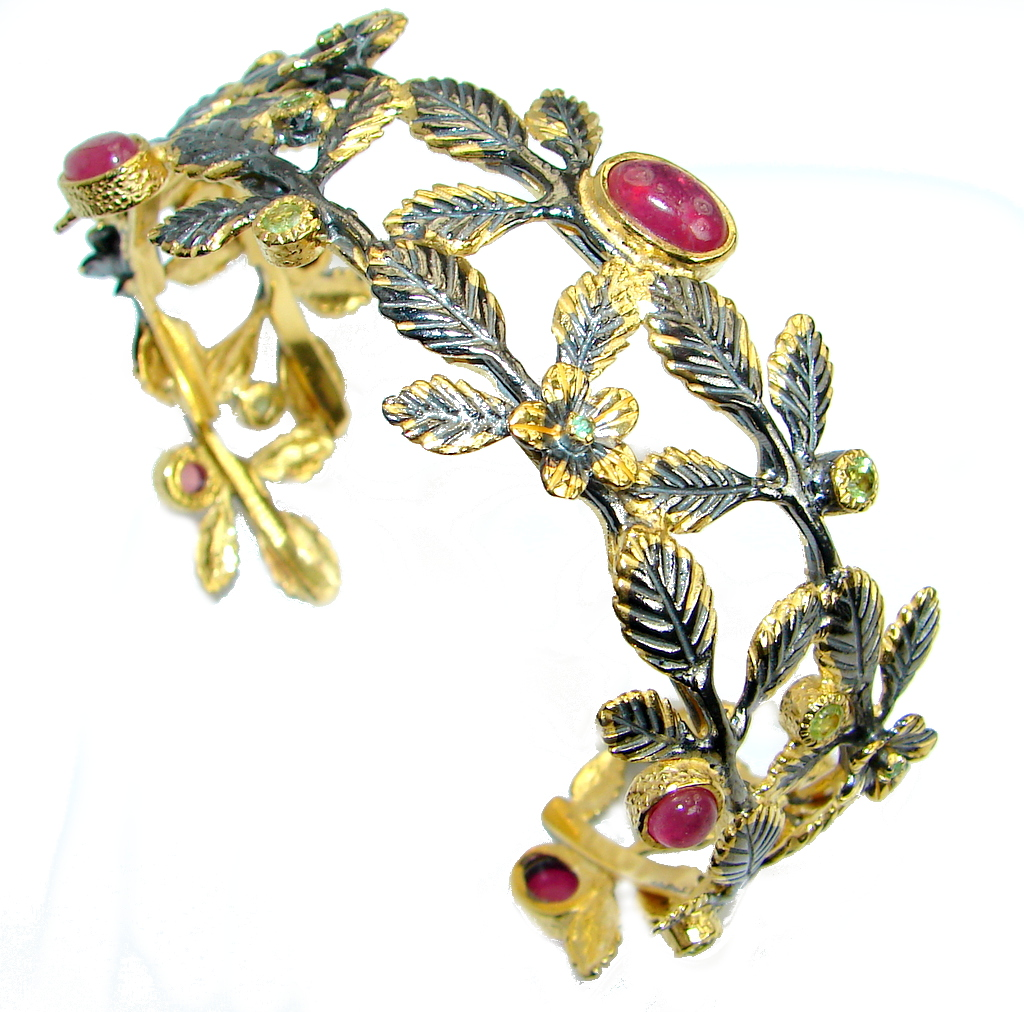 Huge Luxury Genuine Ruby Gold over. 925 Sterling Silver handmade Cuff/Bracelet