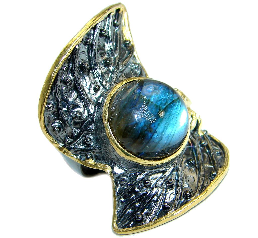 Huge Blue Fire Labradorite Gold over .925 Sterling Silver handmade ring size 8 adjustable
