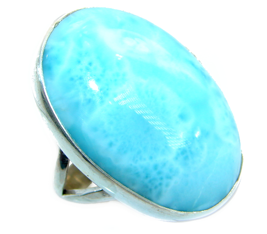 Huge Genuine   Larimar   .925 Sterling Silver  handcrafted Ring s. 7