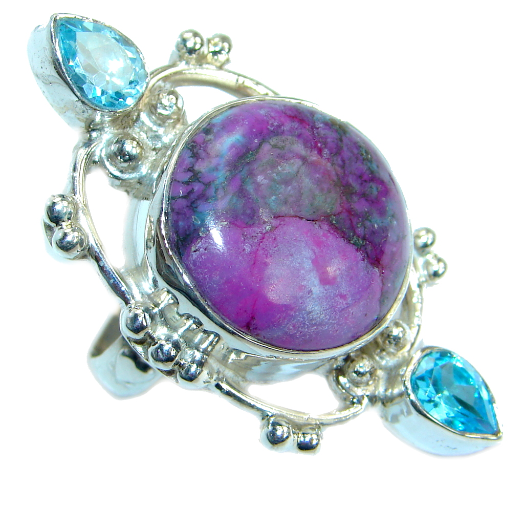 Copper Purple Turquoise .925 Sterling Silver handmade Ring s. 7 1/4