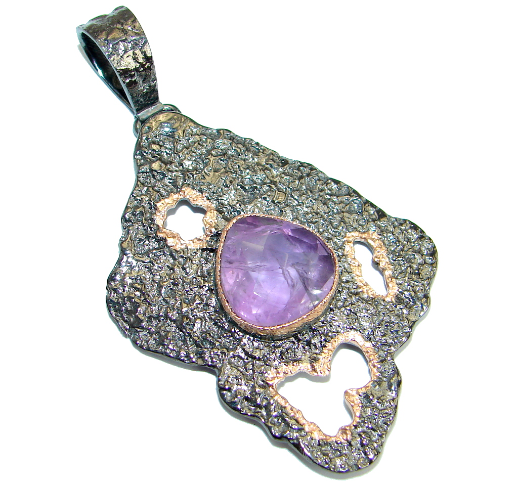 Protective Energy  Amethyst .925 Sterling Silver handmade Pendant