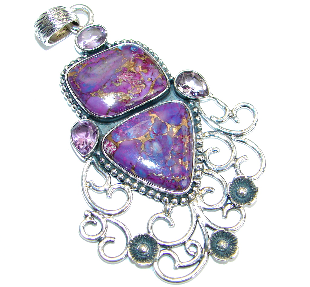 Simple Style Purple Turquoise with copper vains  .925 Sterling Silver Pendant