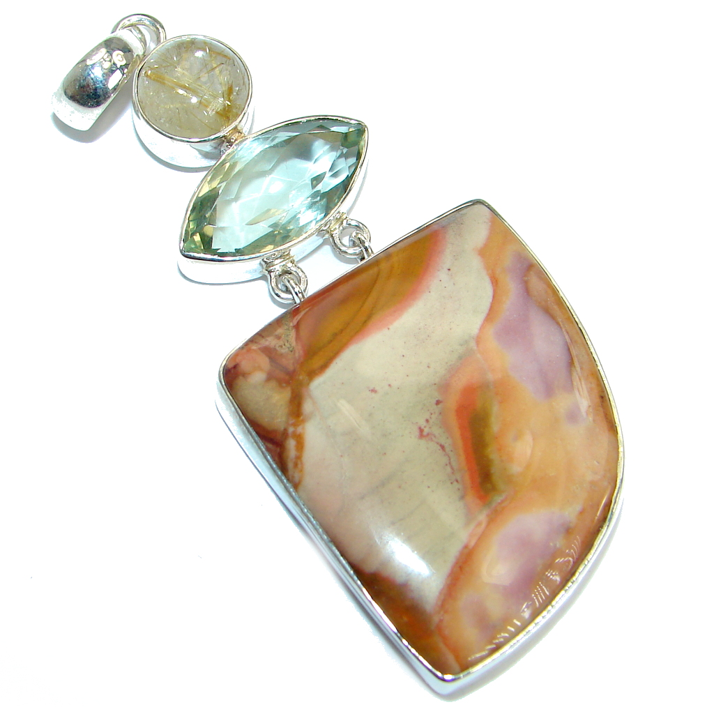 Amazing genuine Crazy Lace Agate  .925  Sterling Silver handmade Pendant