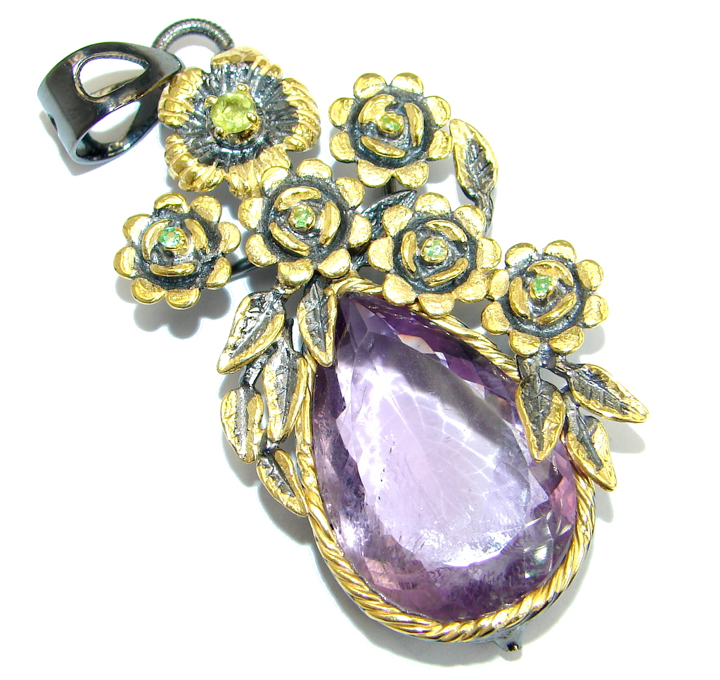 Floral Design genuine  Amethyst 18ct Gold over .925 Sterling Silver handmade..