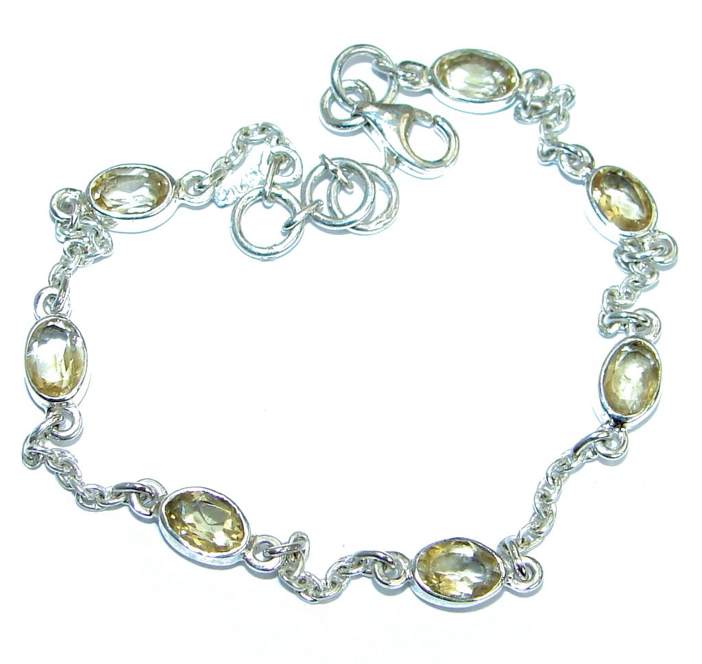 Stunning  genuine Citrine  .925 Sterling Silver handmade Bracelet