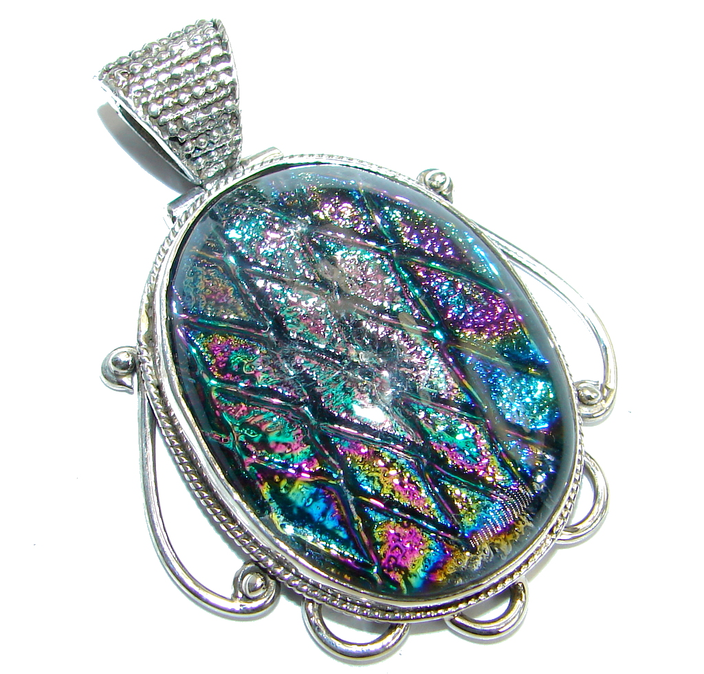 Huge Mexican Dichroic Glass .925 Sterling Silver handmade Pendant 124243