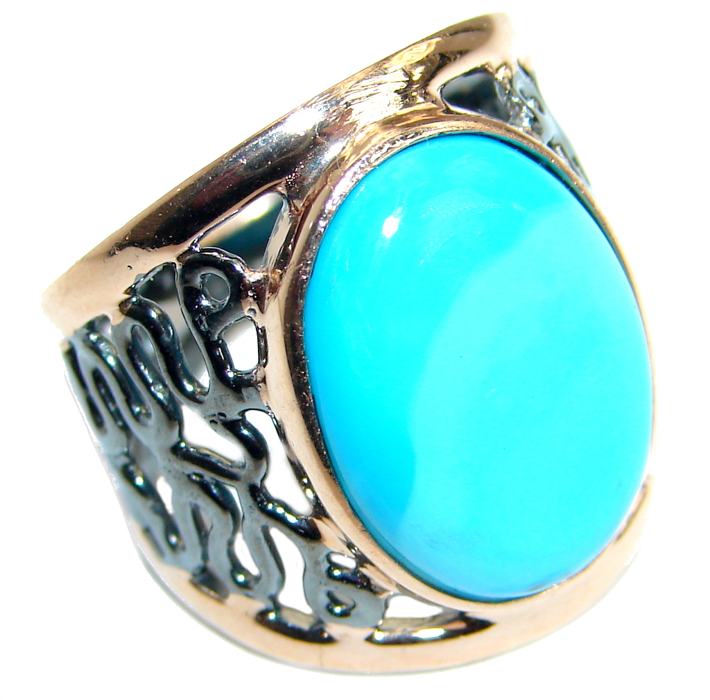 Sleeping Beauty  Turquoise  Gold over .925  Sterling Silver Ring size 6 3/4