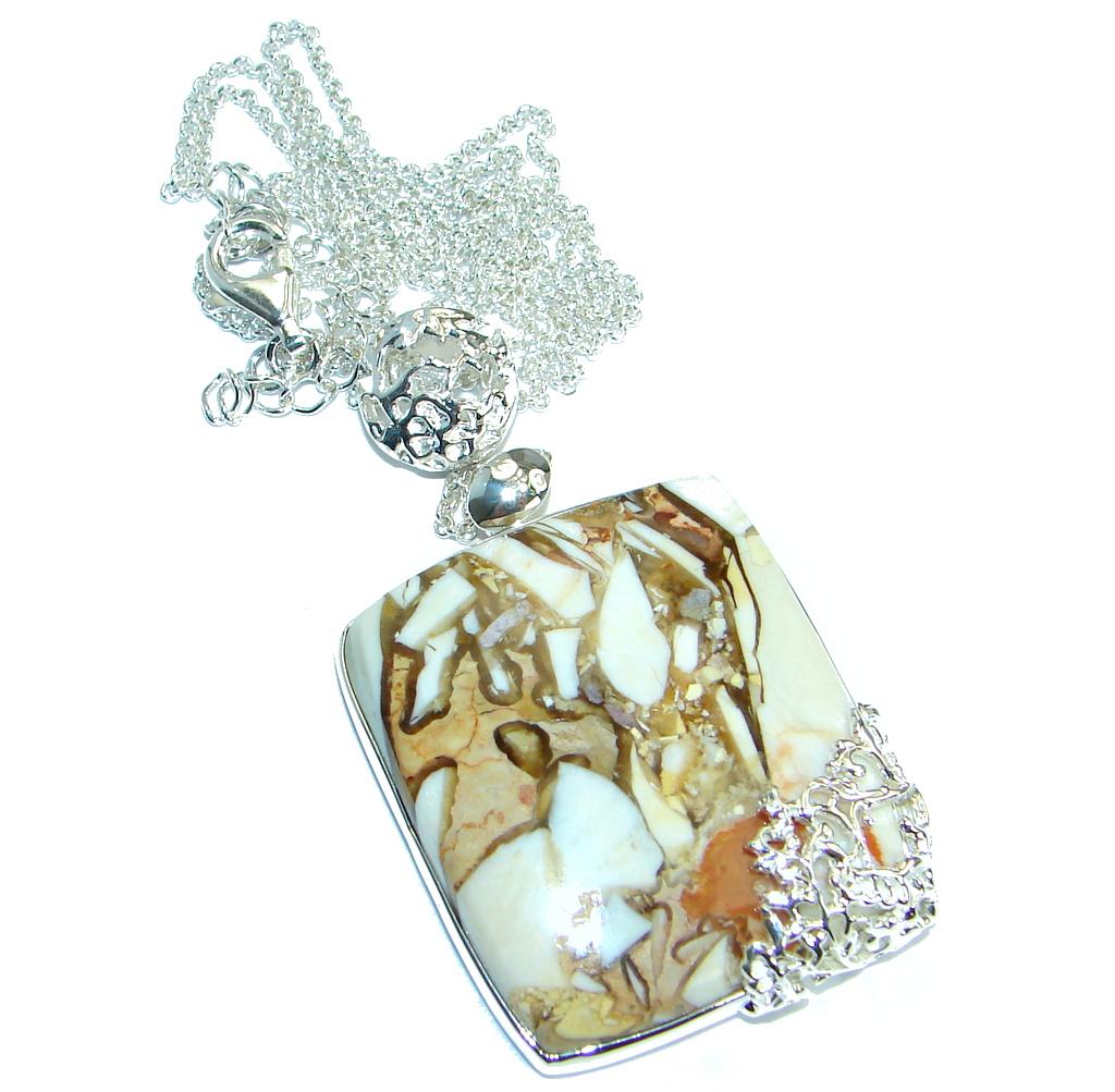 Unique Design Australian Bracciated Mookaite Jasper .925 Sterling Silver necklace