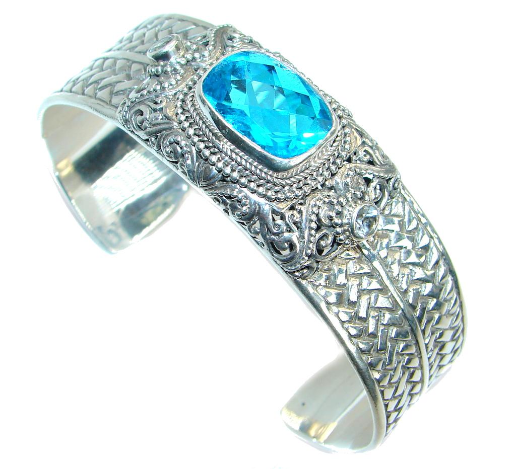 Chunky Luxury Aqua Magic Topaz .925 Sterling Silver handmade Cuff/Bracelet