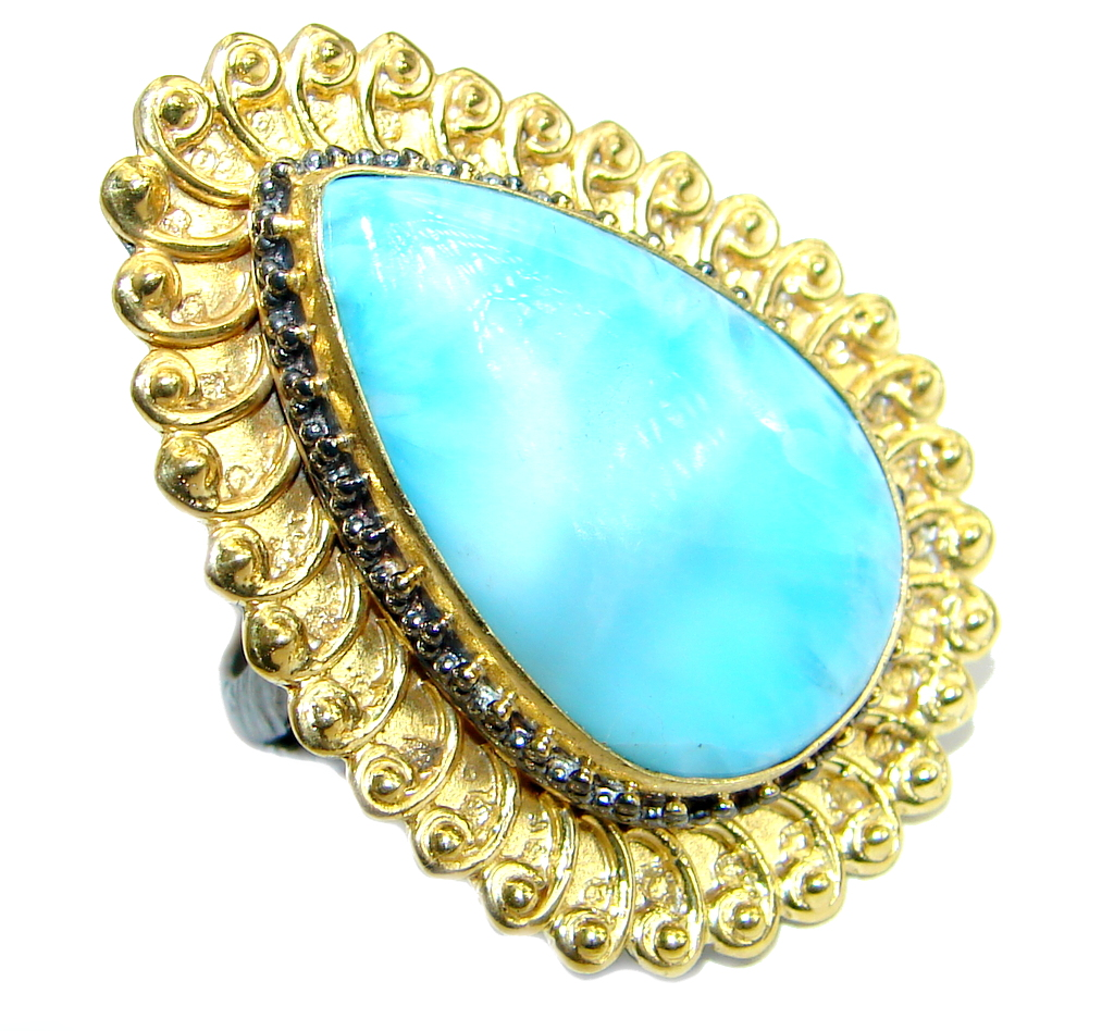 Genuine   Larimar   Gold over .925 Sterling Silver  handcrafted Ring s. 7 ad..