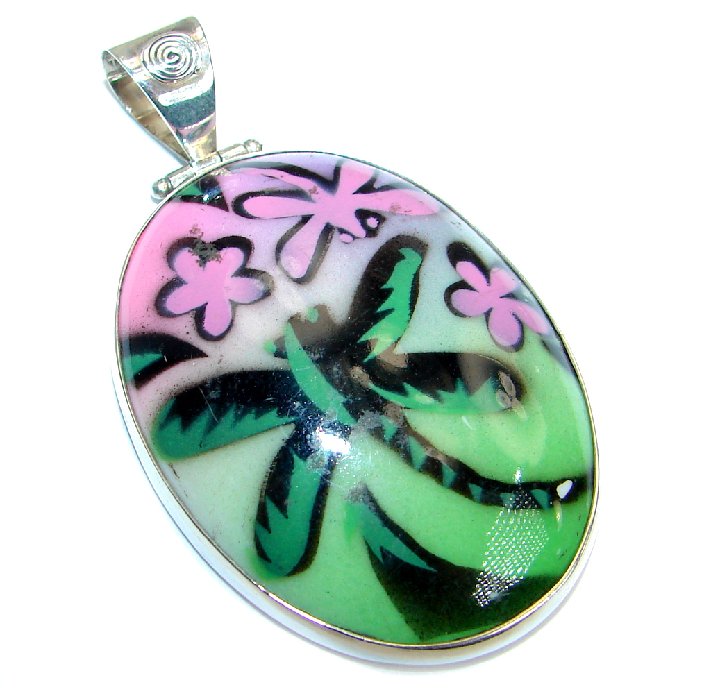 Huge Mexican Dichroic Glass .925 Sterling Silver handmade Pendant 124452