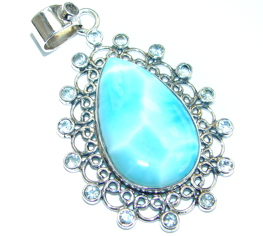 Bold Great quality Beautiful genuine Larimar  .925 Sterling Silver handmade ..