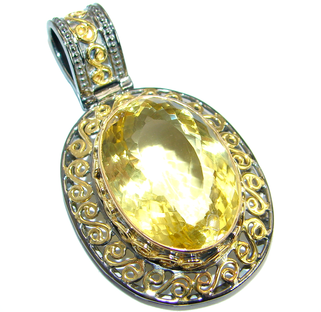 Large Power Magic  Citrine   .925 Sterling Silver handcrafted pendant