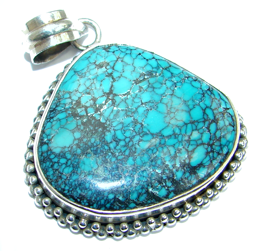 Simple Style Blue Turquoise with copper vains .925 Sterling Silver Pendant