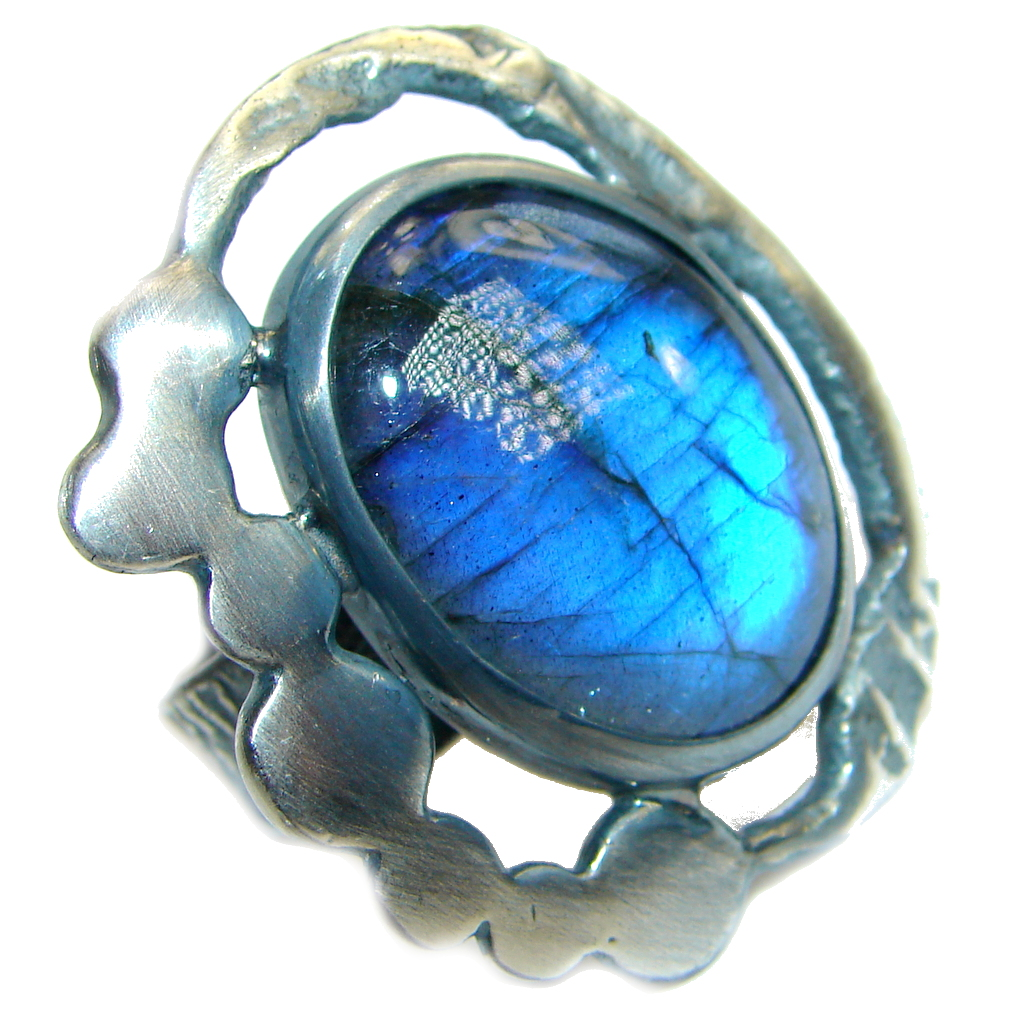 Avangarda Fire Labradorite oxidized .925 Sterling Silver handmade ring size 7 adjustable