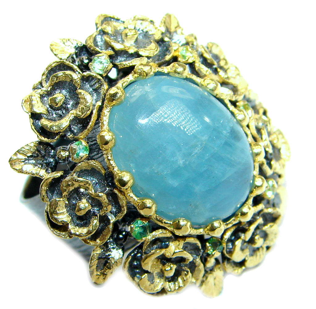 Passiom Fruit Natural 25.5 ct. Aquamarine Gold  Plated over Sterling Silver ..