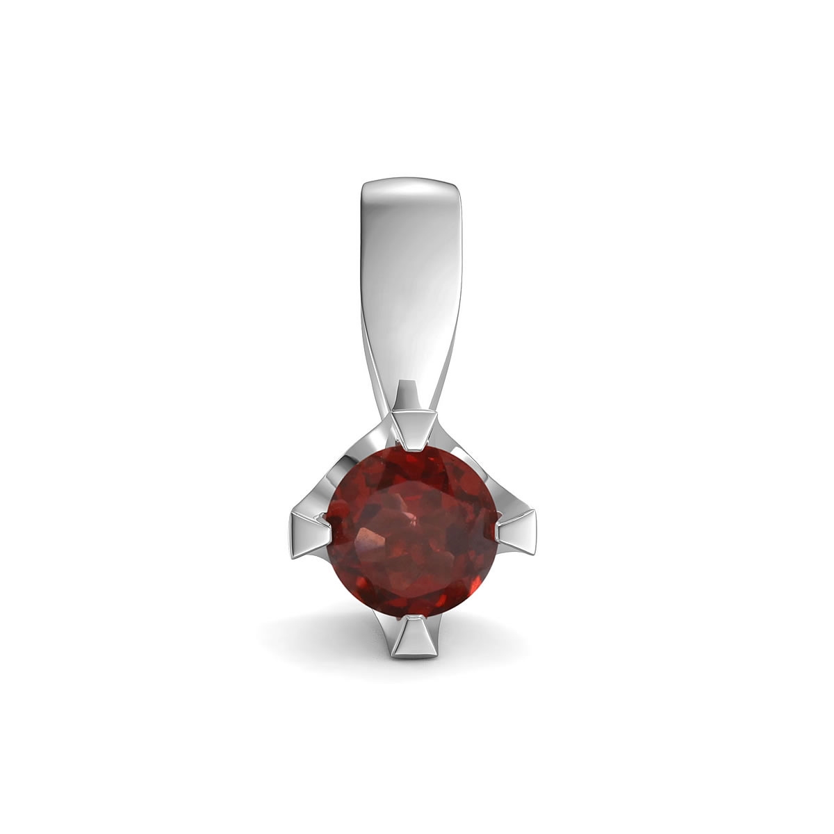 Elegant pendant in sterling silver with a garnet