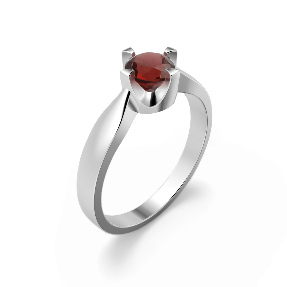 Elegant ring in sterling silver with a garnet