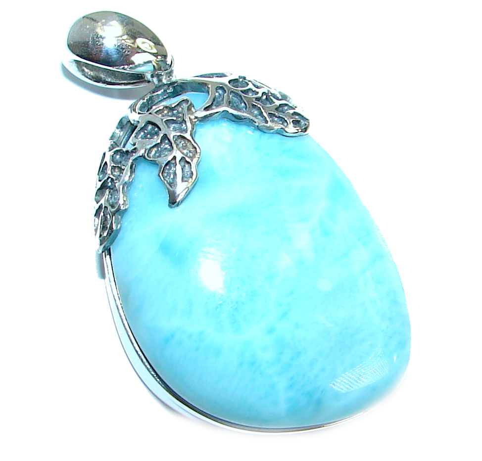 Genuine Larimar  oxidized .925 Sterling Silver handmade pendant
